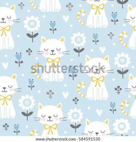 Seamless pattern with cute cats Seamless pattern with cute cats. Vector illustration with white kittens and flowers on color background.