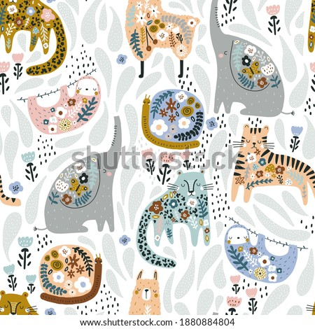 Seamless pattern with cute colorful elephant, llama, sloth, tiger, cheetah, snail. Creative floral texture. Great for fabric, textile Vector Illustration