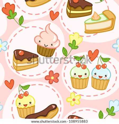 Seamless pattern with cute cupcakes cakes flowers and hearts Vector illustration