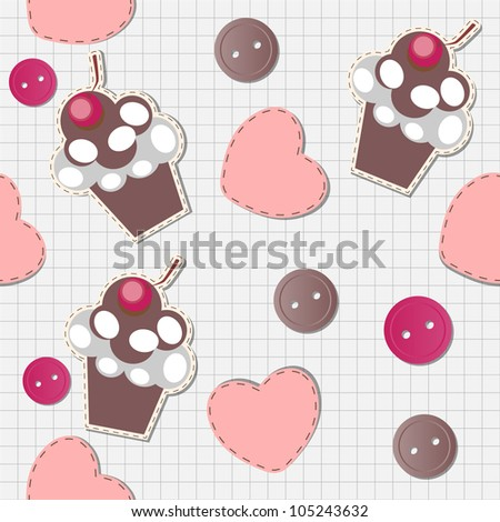 seamless pattern with cute cupcakes, vector illustration