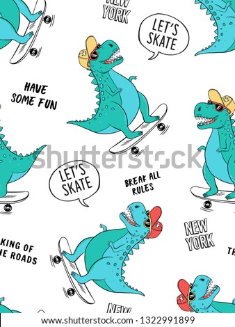 Seamless pattern with cute dinosaurs for kids fashion. Skate theme vector illustrations.