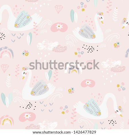 Seamless pattern with cute fairy swans and rainbows.  Vector Illustration