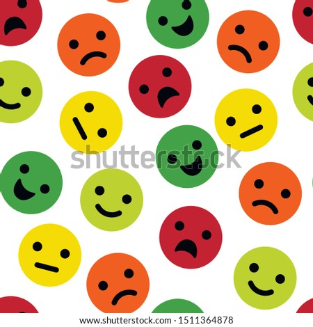 Seamless pattern with cute feedback emotions. Background with colorful cartoon emotional faces. Vector illustration.