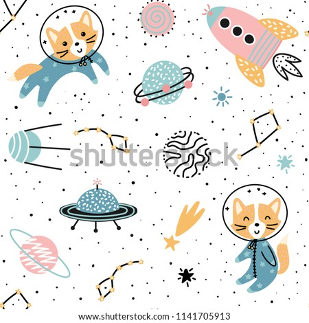 Seamless pattern with cute fox astronaut, planet, star and ufo. Vector illustration for children.