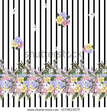 Seamless pattern with cute garden flowers on striped background. Flower background for textile, cover, wallpaper, gift packaging, printing.Romantic design for calico, silk.