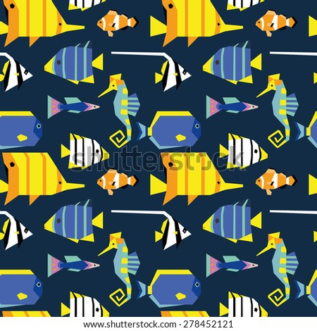 Seamless pattern with cute geometric tropical fishes 3
