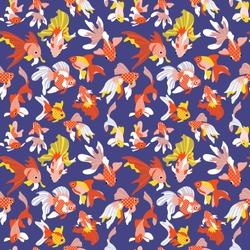 Seamless pattern with cute goldfishes