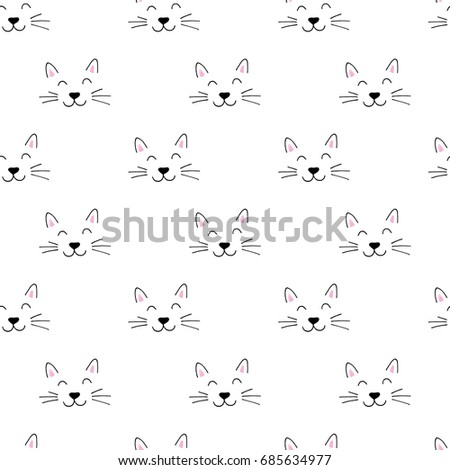 seamless pattern with cute hand drawn cat face