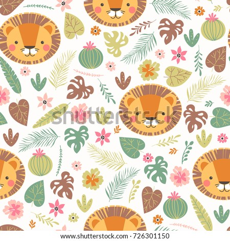 seamless pattern with cute lion