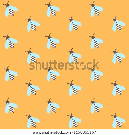 seamless pattern with cute little bees on yellow background