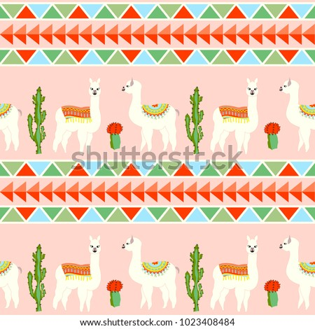 Seamless pattern with cute llama, castus and flower. Llama, cactus, flower pattern with Aztec geometric striped background