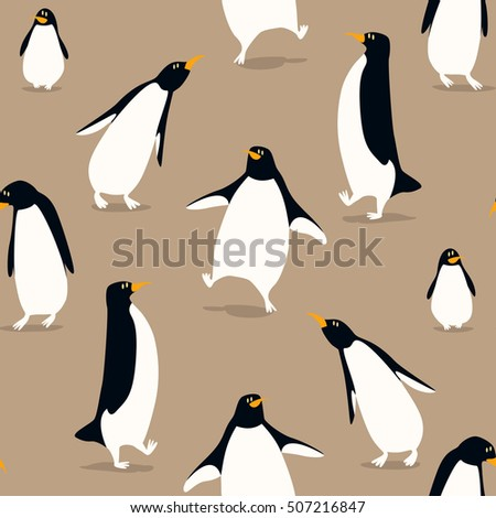 Seamless pattern with cute penguins. Funny vector background in cartoon.