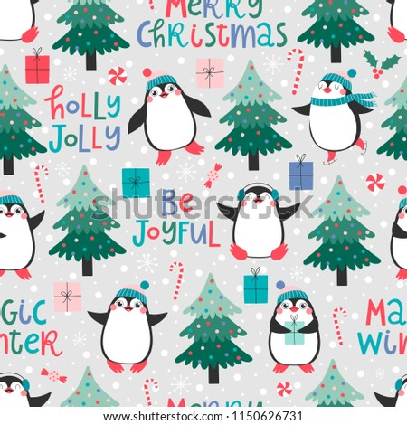 Seamless pattern with cute pinguins, christmas elements and text Merry Christmas, Be joyful, Magic winter, Holly jolly