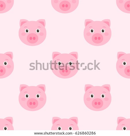 Seamless pattern with cute pink pigs