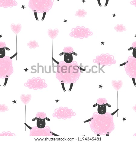 Seamless pattern with cute pink sheep and clouds.