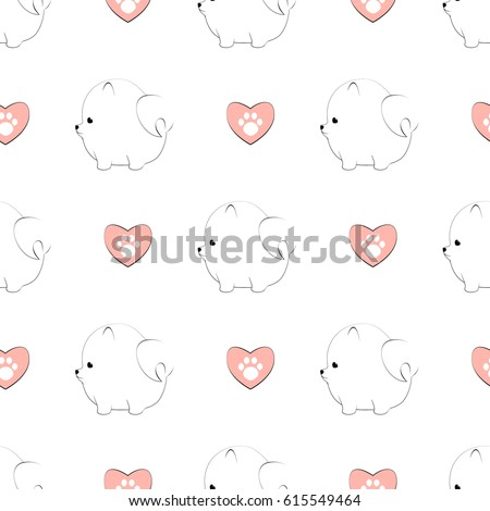 Stock Photo Seamless pattern with cute pomeranian dogs and hearts with paw prints. Vector animal background.