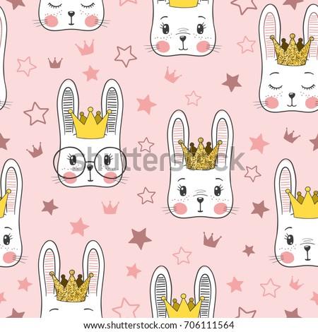 Shutterstock Seamless pattern with cute rabbit baby girl Princess