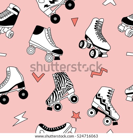 Seamless pattern with cute retro roller skates