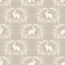 Seamless pattern with cute white rabbits. Vector illustration.