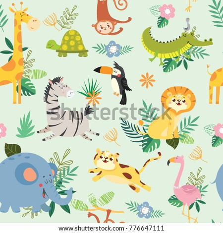 seamless pattern with cute wild
