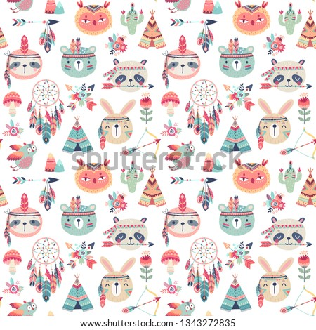 Seamless pattern with Cute Woodland boho tribal pattern,  rabbit, owl, sloth, panda,bear. American indian set of Vector illustration.
