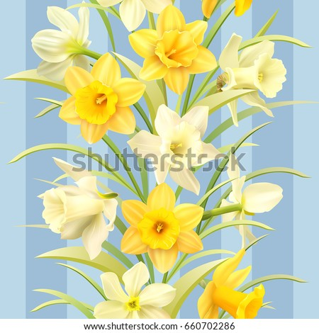 Seamless pattern with daffodils. Vector illustration.