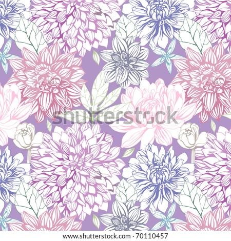 seamless pattern with dahlia