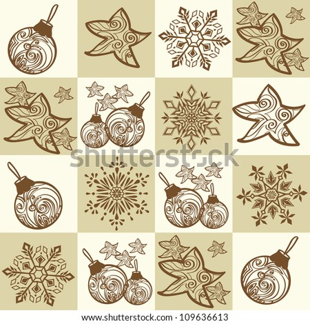 Seamless pattern with decorative christmas elements