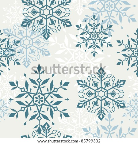 Seamless pattern with decorative christmas snowflakes