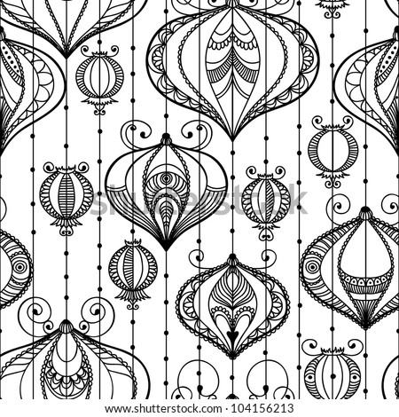 Seamless pattern with decorative elements. Vector illustration with Chinese lanterns.