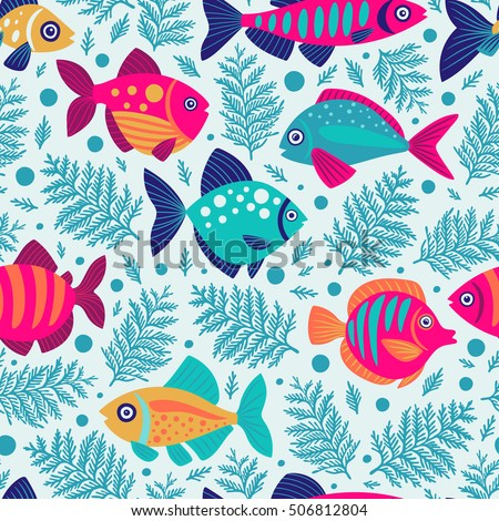 Seamless pattern with decorative fish. Cartoon style. Freehand drawing