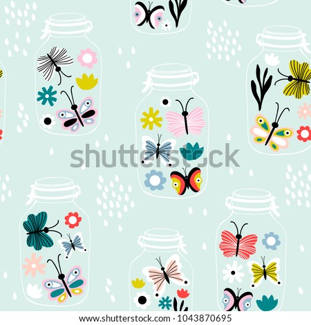 Seamless pattern with decorative flowers and butterflies in jars. Great for fabric, textile. Vector background