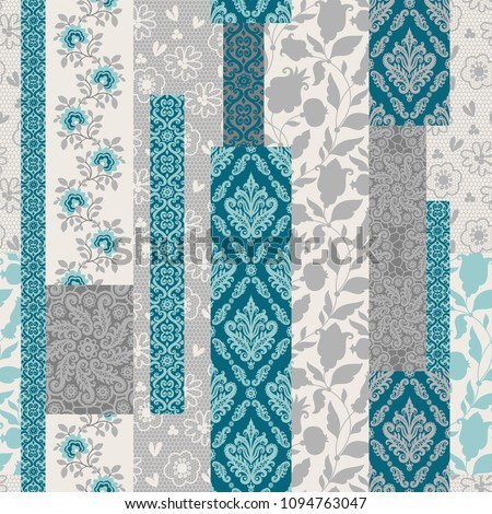 Seamless pattern with decorative flowers, patchwork tiles. Can be used on packaging paper, fabric, background for different images, etc. Freehand drawing