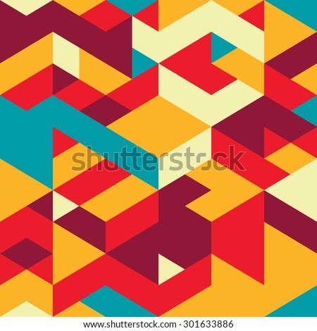 Seamless pattern with decorative geometric and abstract elements. Vector illustration.
