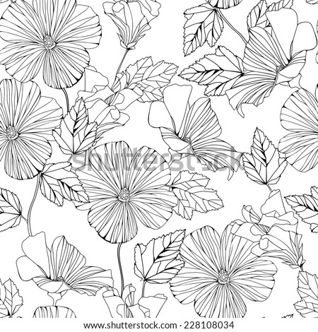Seamless pattern with decorative hibiscus flowers isolated on white. Vector delicate background.