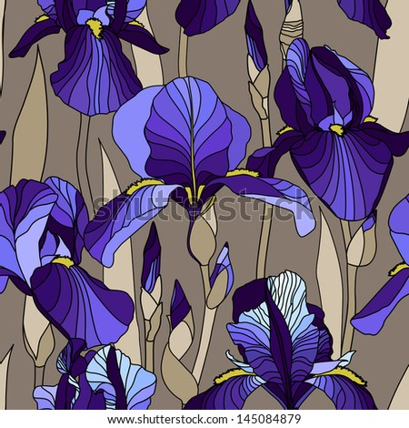 Pattern with decorative lilac iris flower in blue retro colors vector
