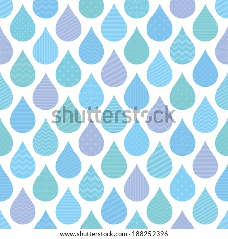 seamless pattern with decorative raindrops.
