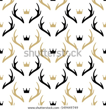 Seamless pattern with deer horns and crowns