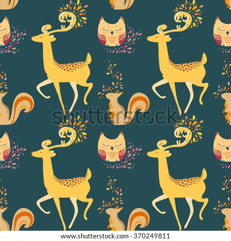 Stock Photo Seamless pattern with deer, owl, squirrel and abstraction. Hand drawn colorful Vector illustration.