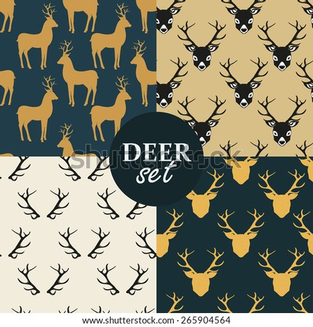 seamless pattern with deer set