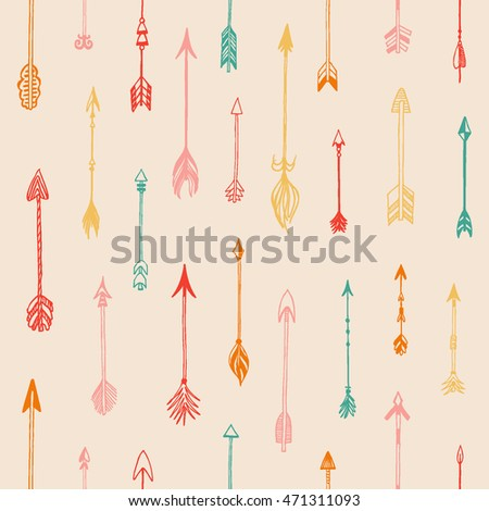 Seamless pattern with different arrows collection. Decorative vector stylized illustration of booms. Cute repeated texture for packaging, books, textile. Wrapping paper design.