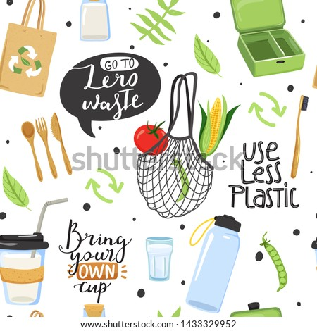 Seamless pattern with different eco objects and lettering phrases. Shopping bag, lunch box, cup, water bootle, toothbrush, cutlery, vegetable etc. Texture for textile, wrapping paper, etc. Vector.