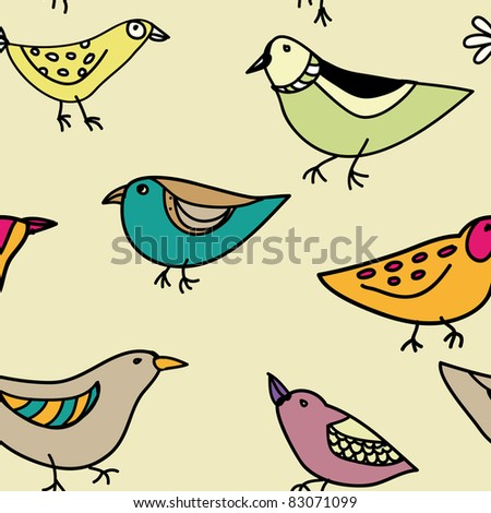 seamless pattern with different funny birds