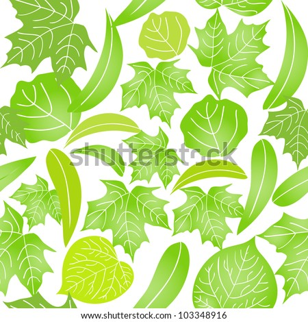 Seamless pattern with different green leaves on white background