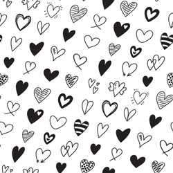 Seamless pattern with different hand drawn heart doodles. romantic black and white heart shapes backdrop for Valentines day
