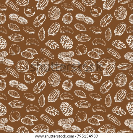 Seamless pattern with different nuts.
