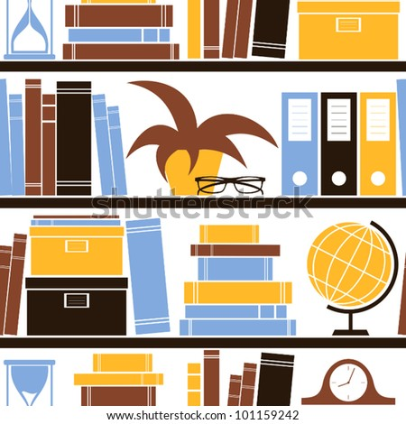 Seamless pattern with different objects placed on a bookshelf.