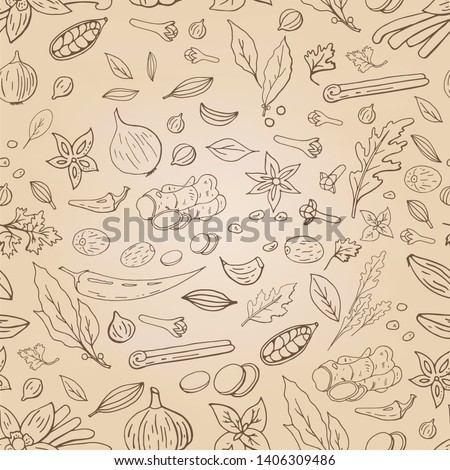 Seamless pattern with different spices on light beidge background. Asian (indian) spices collection.