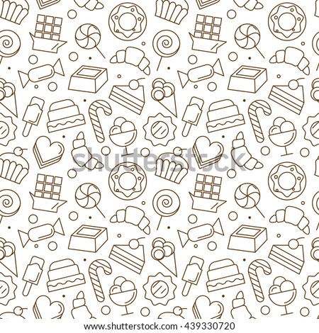 Seamless pattern with different sweet icons