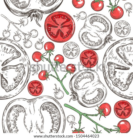Seamless pattern with different tomatoes. Cherry Tomatoes and Tomato Slices. Vintage graphics. Vegetarian menu.